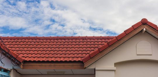 Tile roof on house